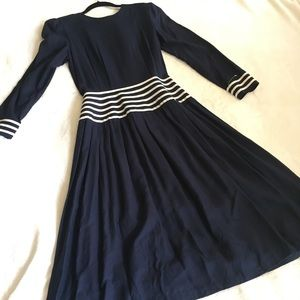 Vintage navy and white dress 80s 90s